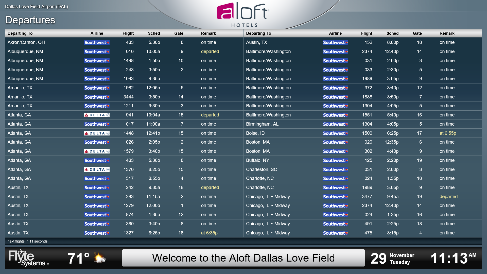 dual branded aloft and element dallas love field properties to
